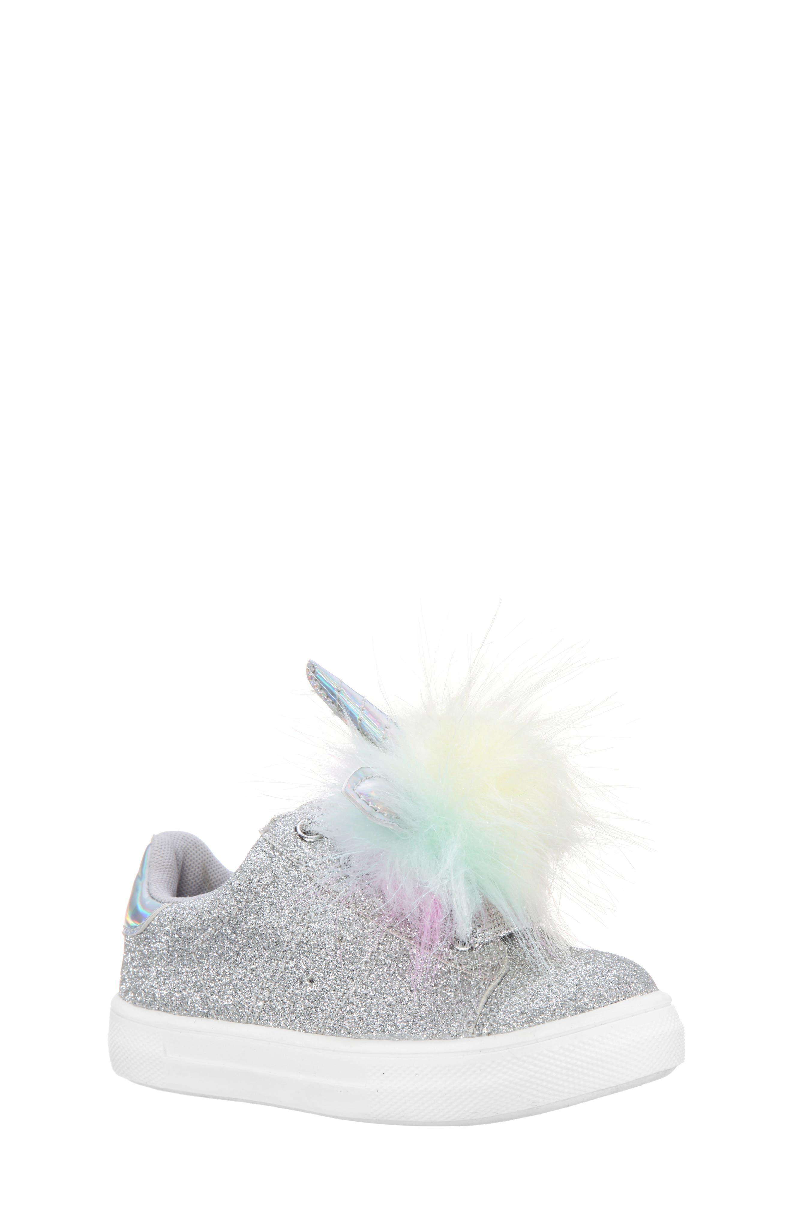 Toddler Girls Nina Britteni Animal Pompom Glitter Sneaker Size 9 M  Metallic