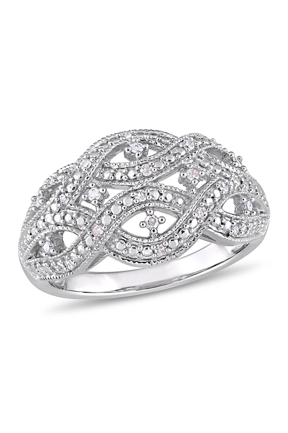 Image of Delmar Sterling Silver Pave Diamond Infinity Ring - 1/8 ctw