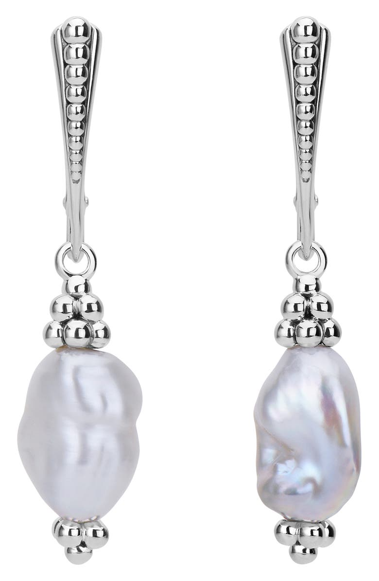 LAGOS Luna Keshi Pearl Drop Earrings, Main, color, SILVER/ KESHI PEARL