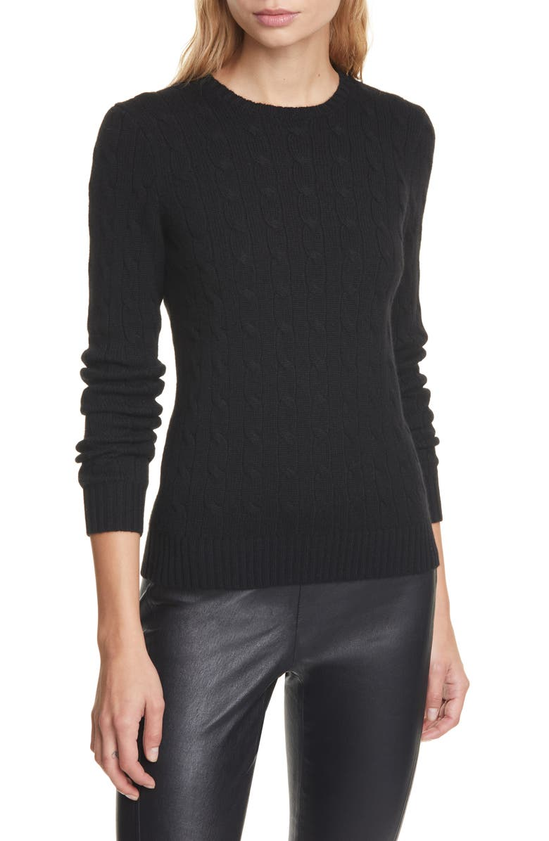 POLO RALPH LAUREN Cable Cashmere Sweater, Main, color, POLO BLACK