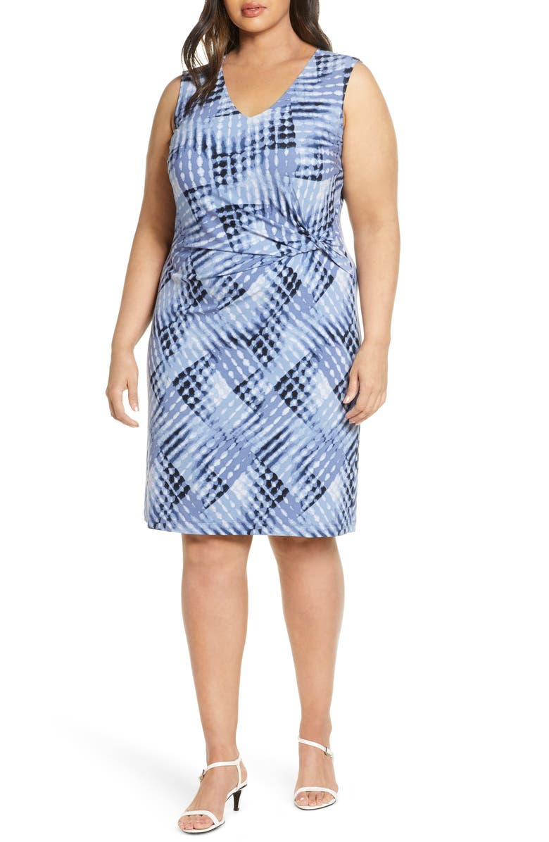 NIC+ZOE Crossover Tie Dye Twist Detail Dress, Main, color, BLUE MULTI