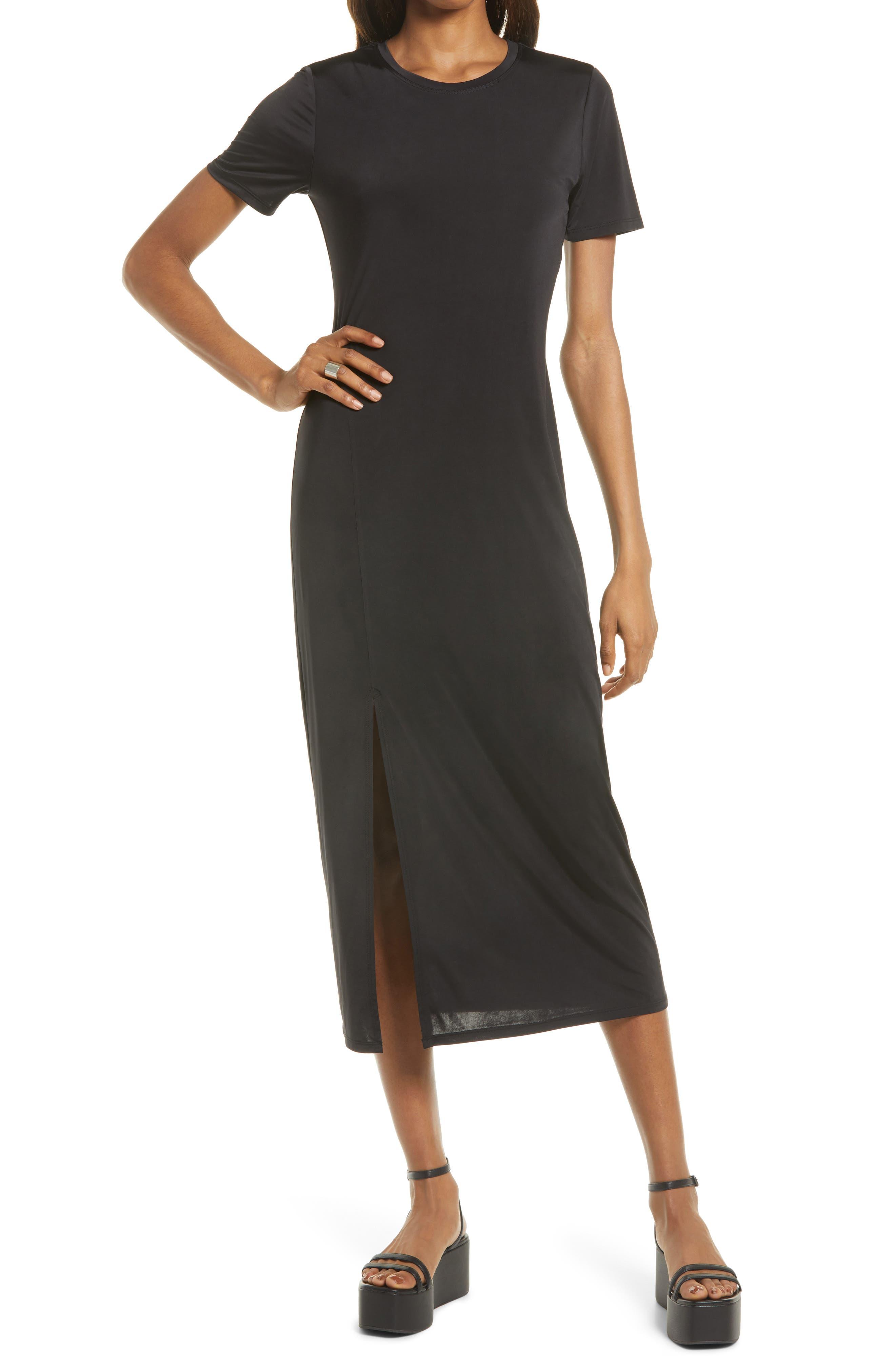 Front Slit Midi T-Shirt Dress