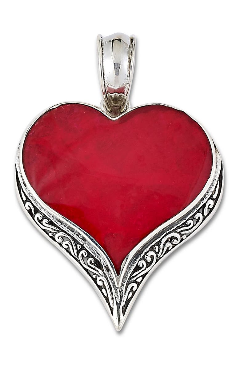 SAMUEL B. Sterling Silver Coral Heart Pendant, Main, color, RED