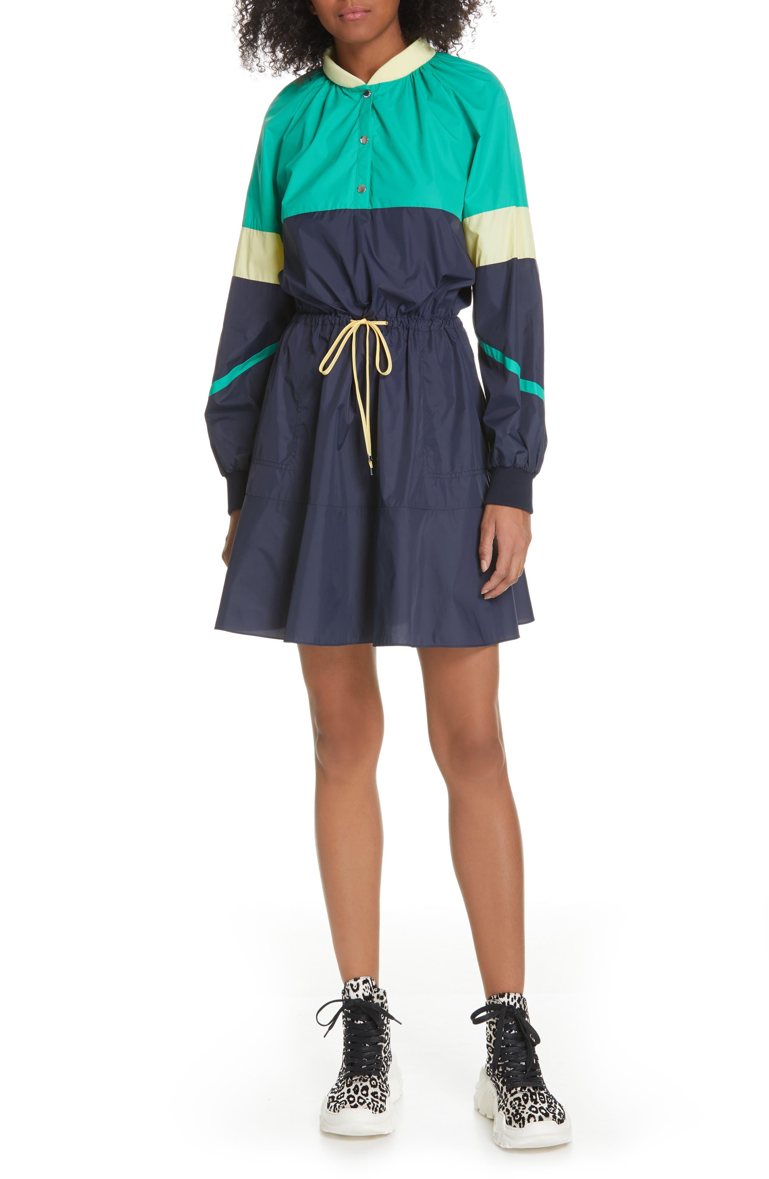Tibi Lightweight Colorblock Long Sleeve Dress, Blue