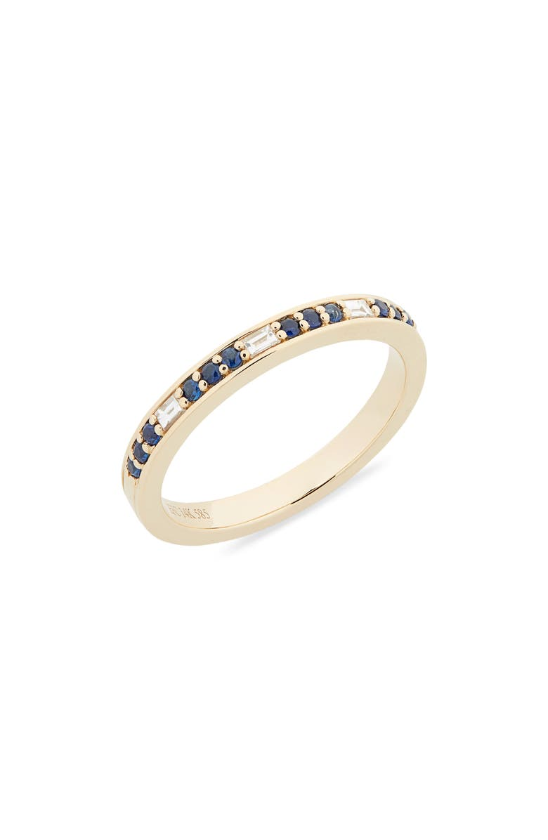 EF COLLECTION Diamond & Semiprecious Stone Stacking Ring, Main, color, YELLOW GOLD/ SAPPHIRE