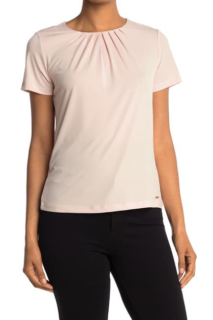 Image of Calvin Klein Pleated Neck Short Sleeve Top