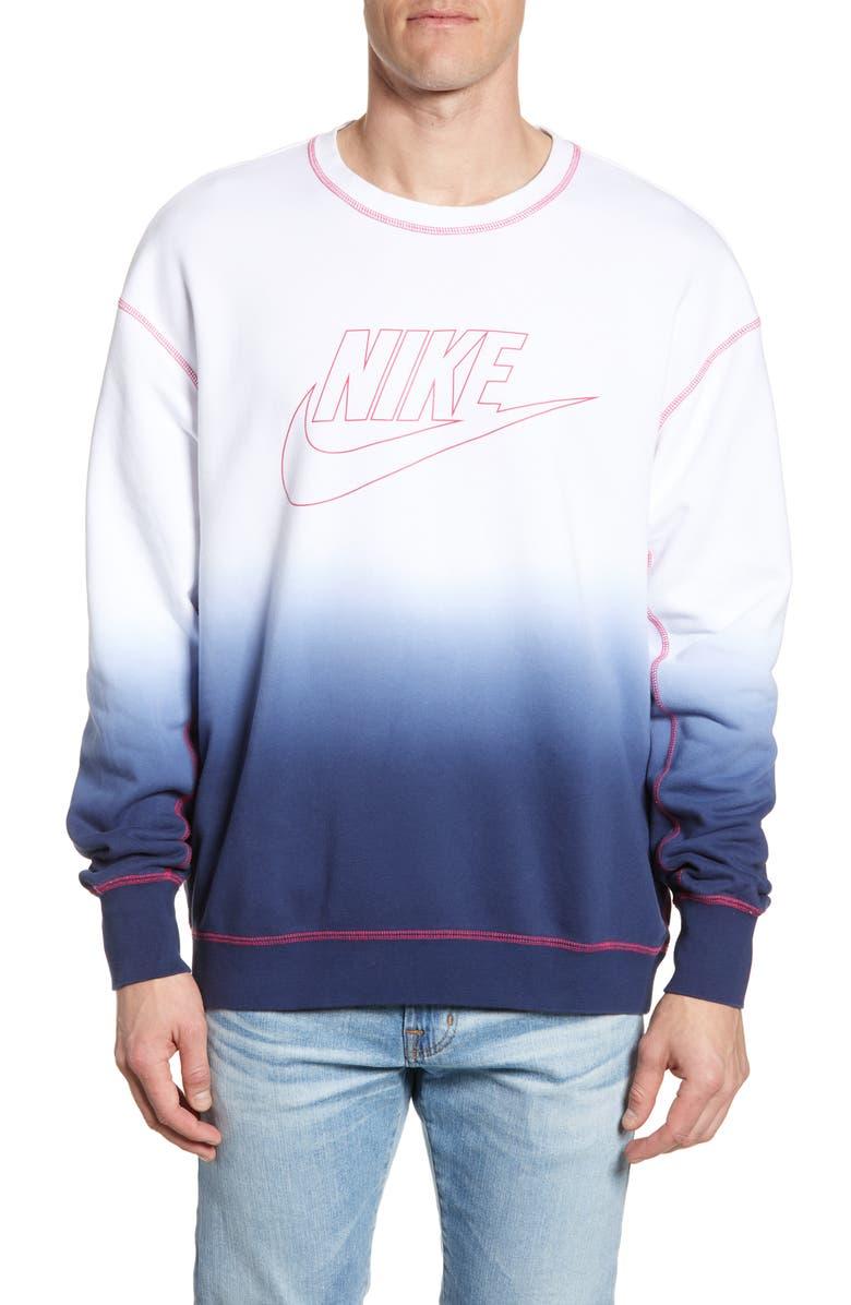 NIKE Sportswear Dip Dye Crewneck Sweatshirt, Main, color, 100