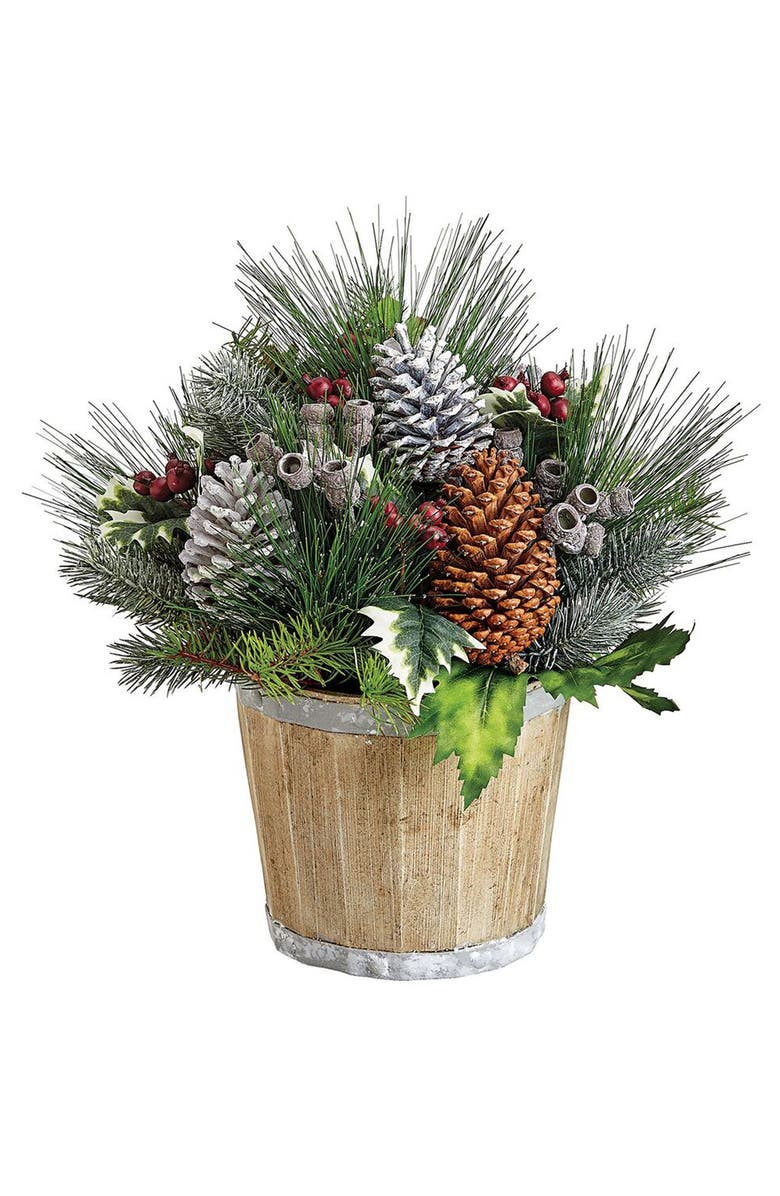 ALLSTATE Faux Holly Berry & Pine Arrangement, Main, color, BROWN GREEN