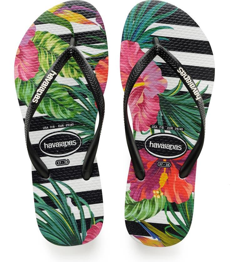HAVAIANAS Slim Tropical Floral Flip Flop, Main, color, 003