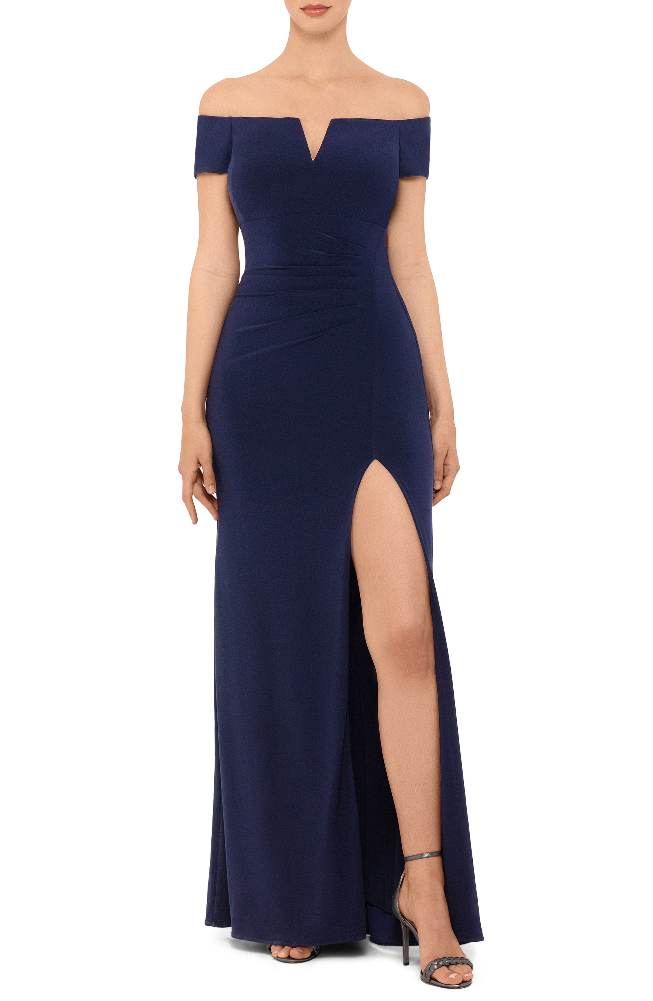 Xscape Off The Shoulder Side Slit Gown, Blue