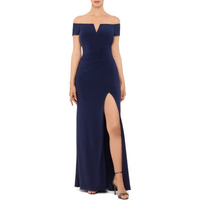 Xscape Off The Shoulder Side Slit Gown, Blue