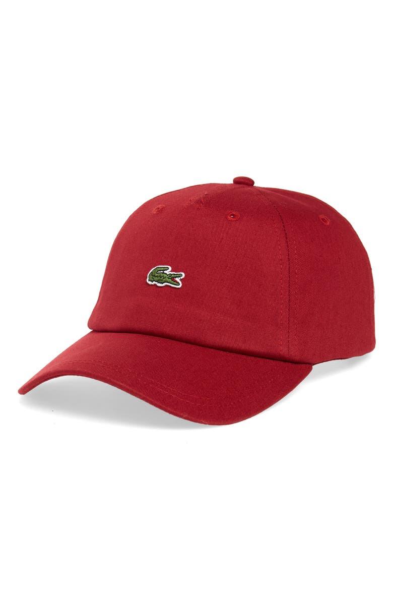 LACOSTE Small Croc Baseball Cap, Main, color, BORDEAUX