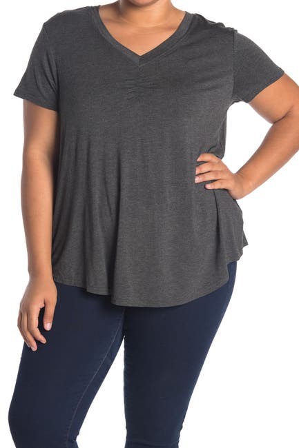 Image of RDI Short Sleeve Ruched V-Neck Swing Top