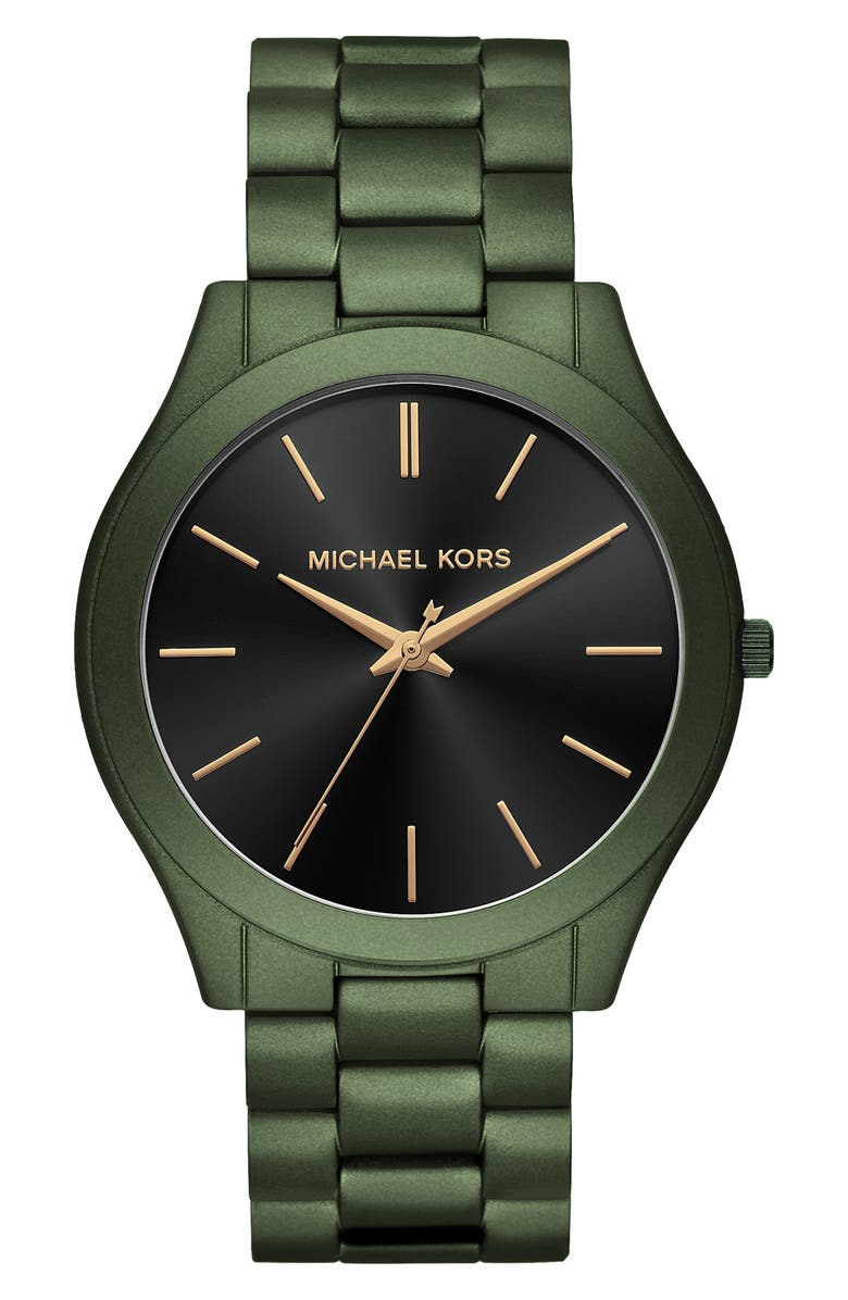 MICHAEL MICHAEL KORS Slim Runway Bracelet Watch, 45mm, Main, color, GREEN/ BLACK/ GREEN