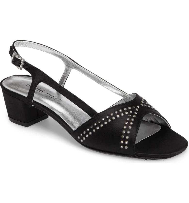 DAVID TATE Wish Slingback Sandal, Main, color, BLACK SATIN
