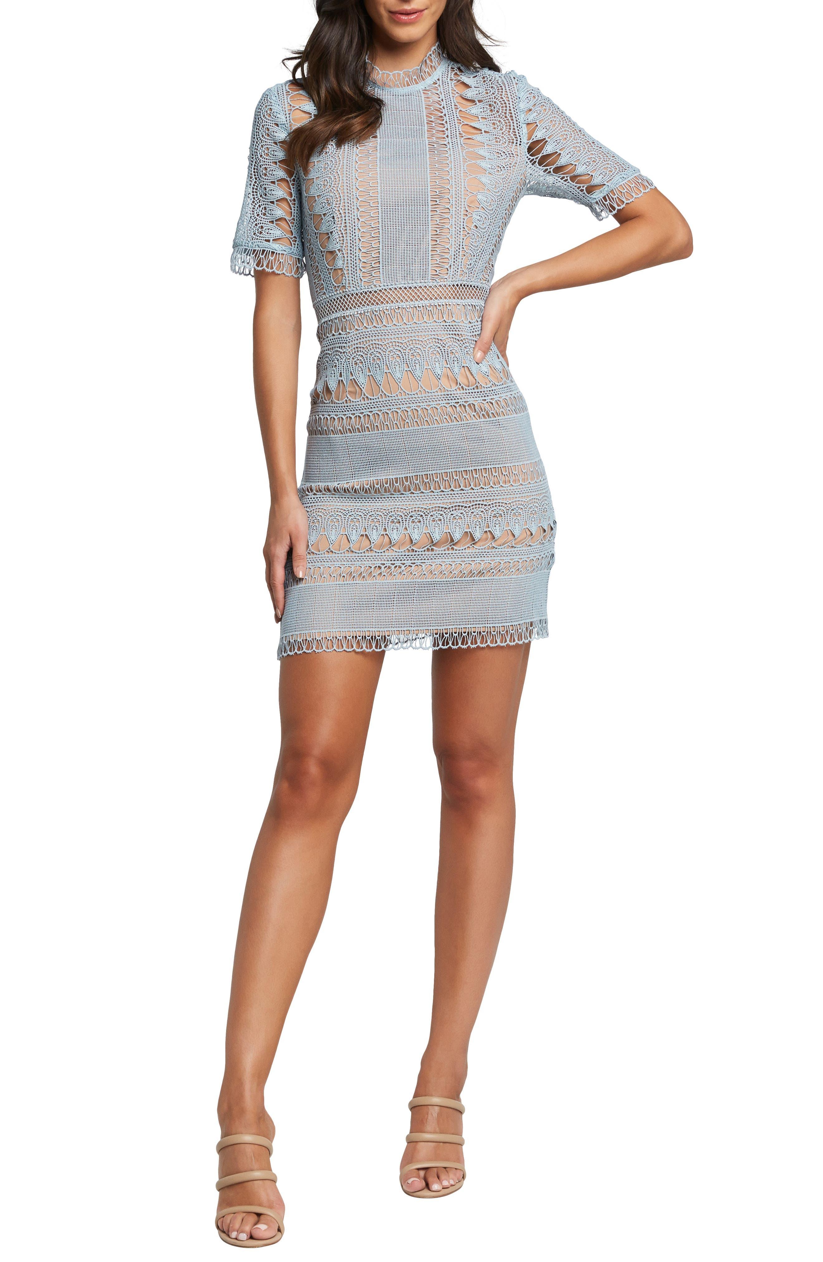 Bardot Brenda Lace Sheath Dress, Blue