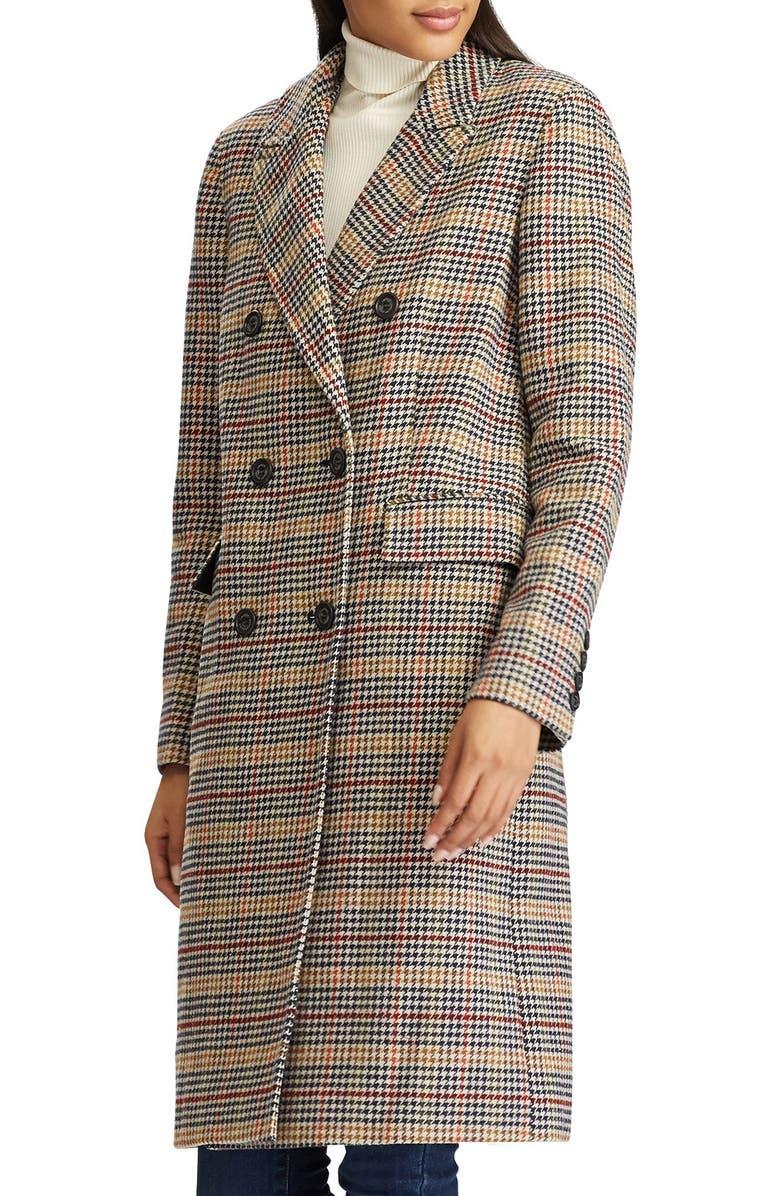 LAUREN RALPH LAUREN Houndstooth Wool Blend Trench, Main, color, SIENNA PLAID