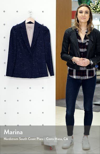 Puff Sleeve Crosshatched Wool Blend Jacket, sales video thumbnail