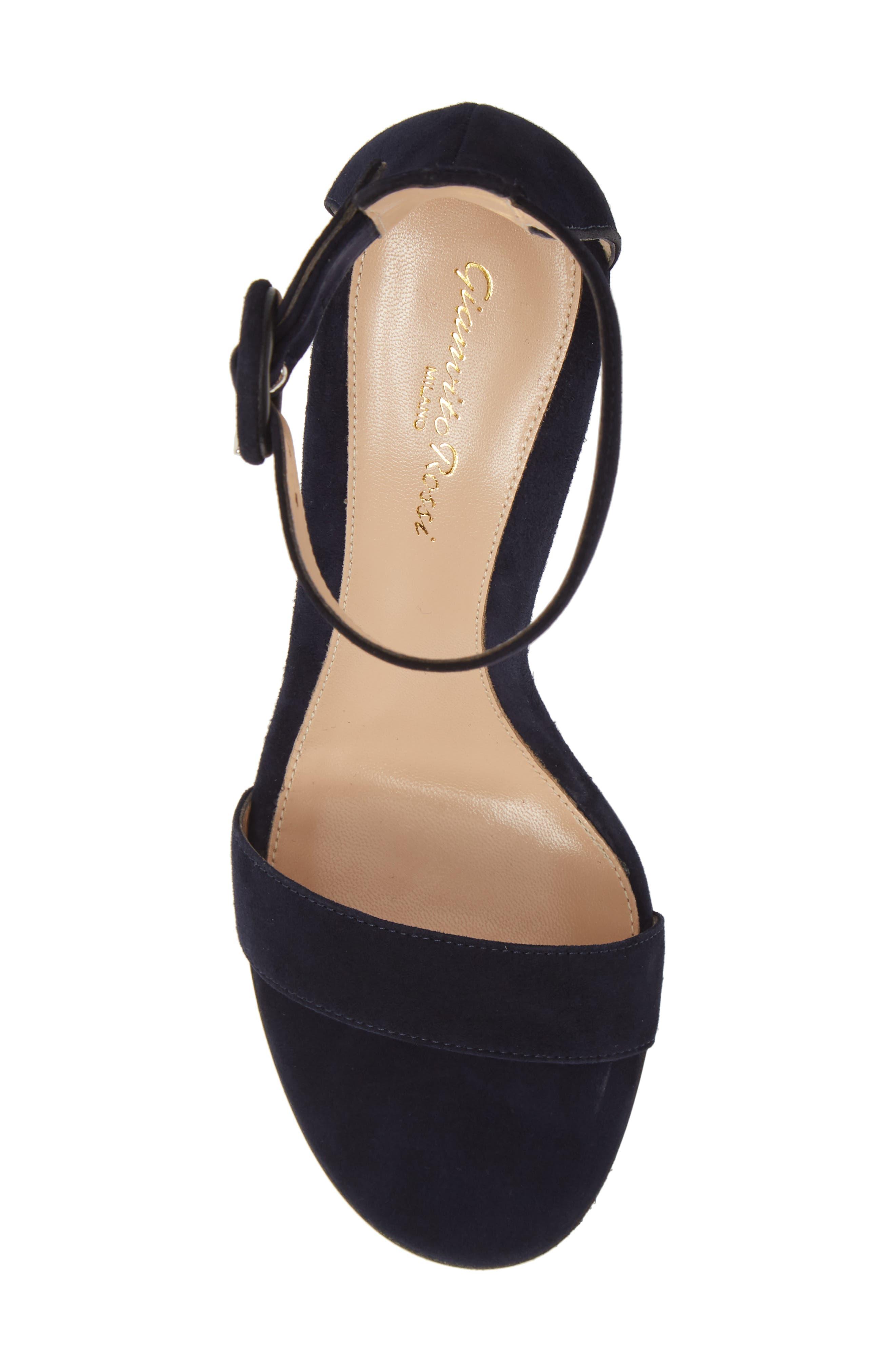 ,                             Block Heel Sandal,                             Alternate thumbnail 5, color,                             DENIM BLUE SUEDE