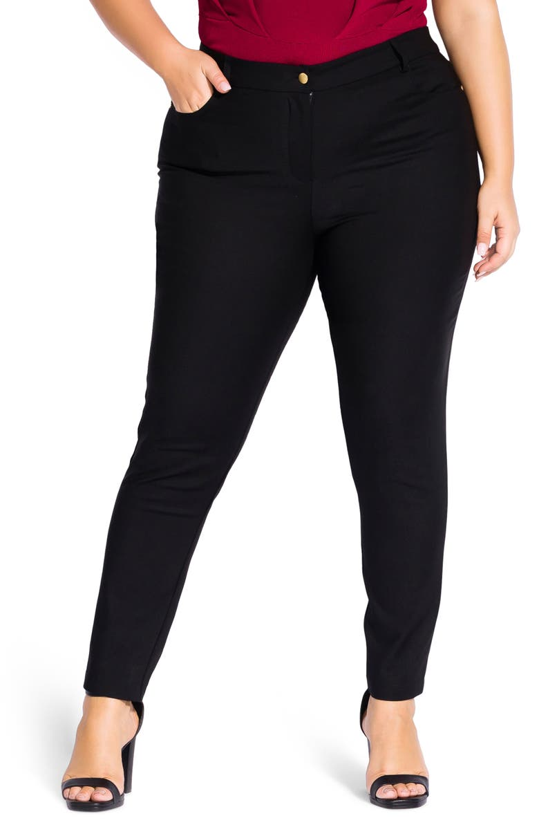 CITY CHIC So Chic Skinny Pants, Main, color, BLACK