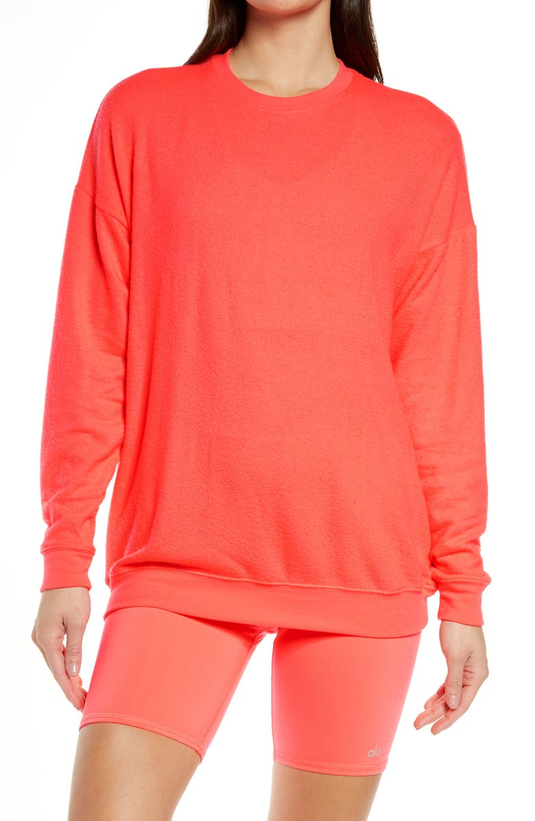 ALO Soho Pullover, Main, color, PINK LAVA