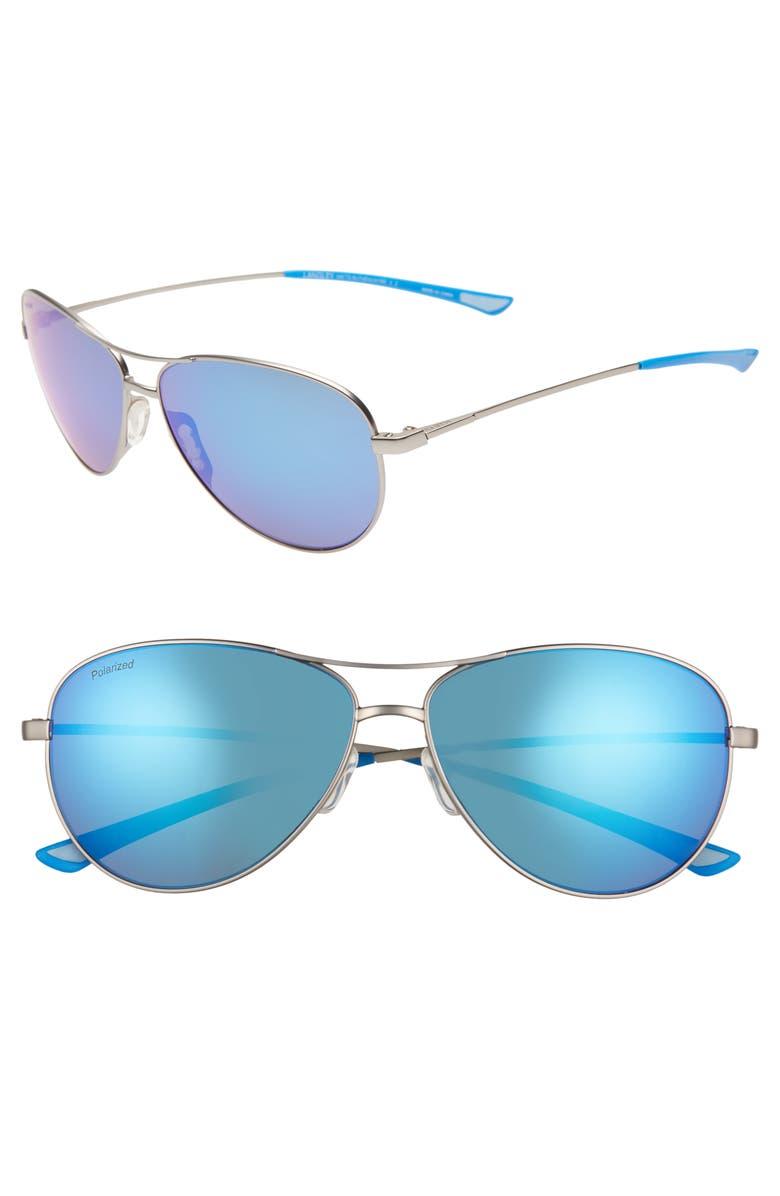 SMITH Langley 60mm ChromaPop<sup>™</sup> Polarized Aviator Sunglasses, Main, color, MATTE RUTHENIUM/ BLUE