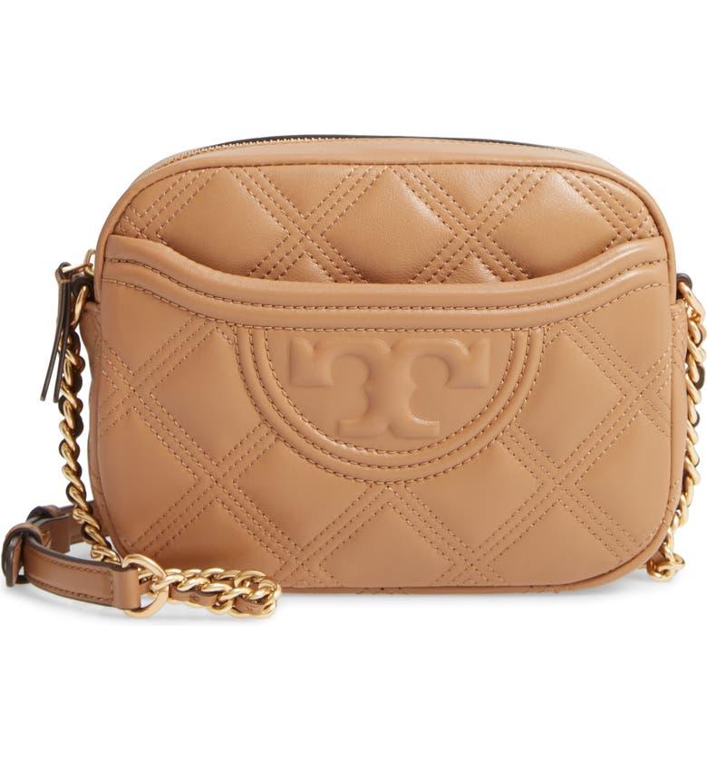 TORY BURCH Fleming Quilted Leather Camera Bag, Main, color, TIRAMISU
