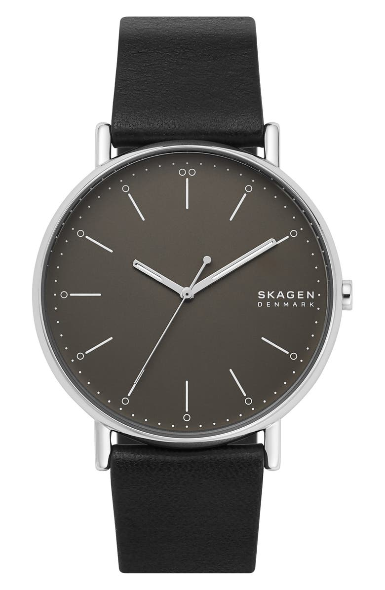 SKAGEN Signatur Leather Strap Watch, 45mm, Main, color, 001