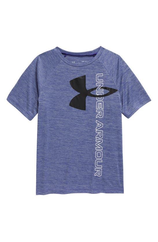 Under Armour Kids' Big Boys Tech Split Logo Hybrid-print T-shirt In Royal / / Black