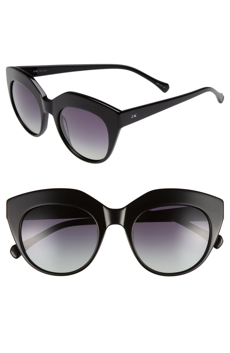 ZAC ZAC POSEN Tamika 53mm Polarized Sunglasses, Main, color, 001