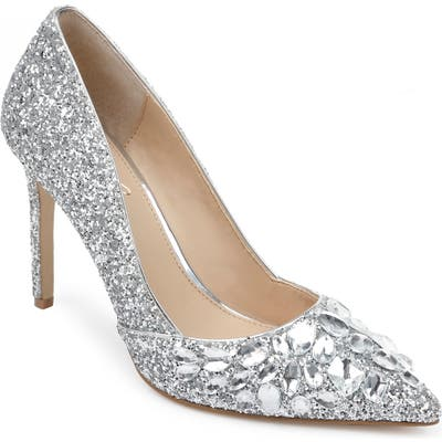 Jewel Badgley Mischka Ulyana Crystal Glitter Pump, Metallic