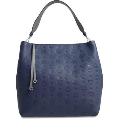 Mcm Large Klara Monogram Leather Hobo - Blue
