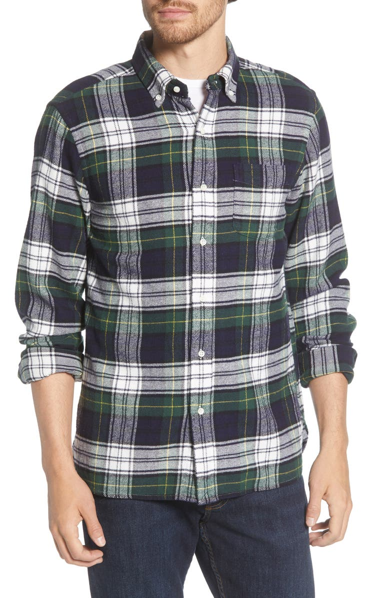 ALEX MILL Regular Fit Plaid Button-Down Flannel Shirt, Main, color, GREEN NAVY WHITE