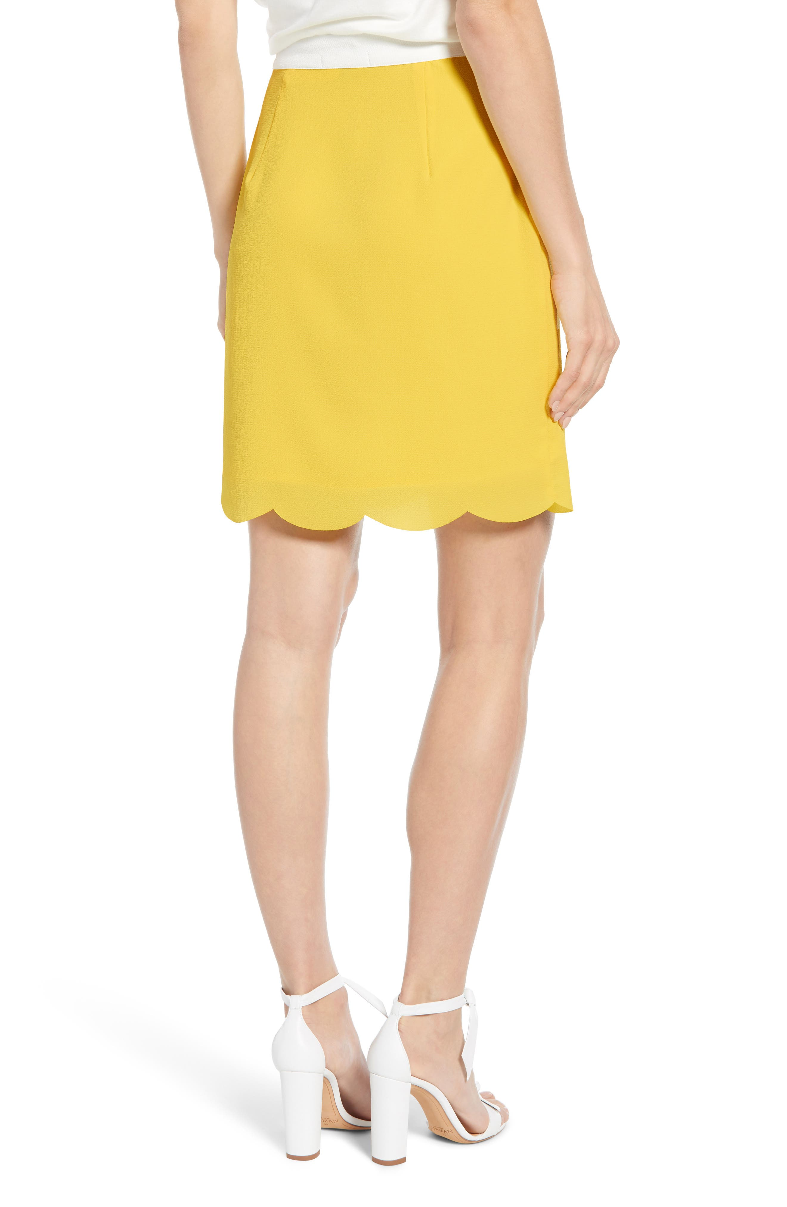 ,                             x Living in Yellow Daphne Scallop Hem Skirt,                             Alternate thumbnail 2, color,                             YELLOW W/ IVORY