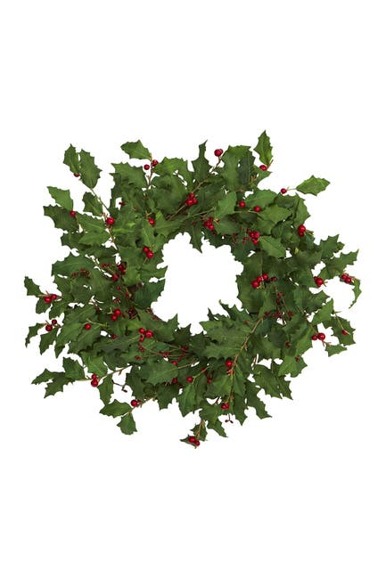 "Image of NEARLY NATURAL 24"" Holly Berry Artificial Wreath"