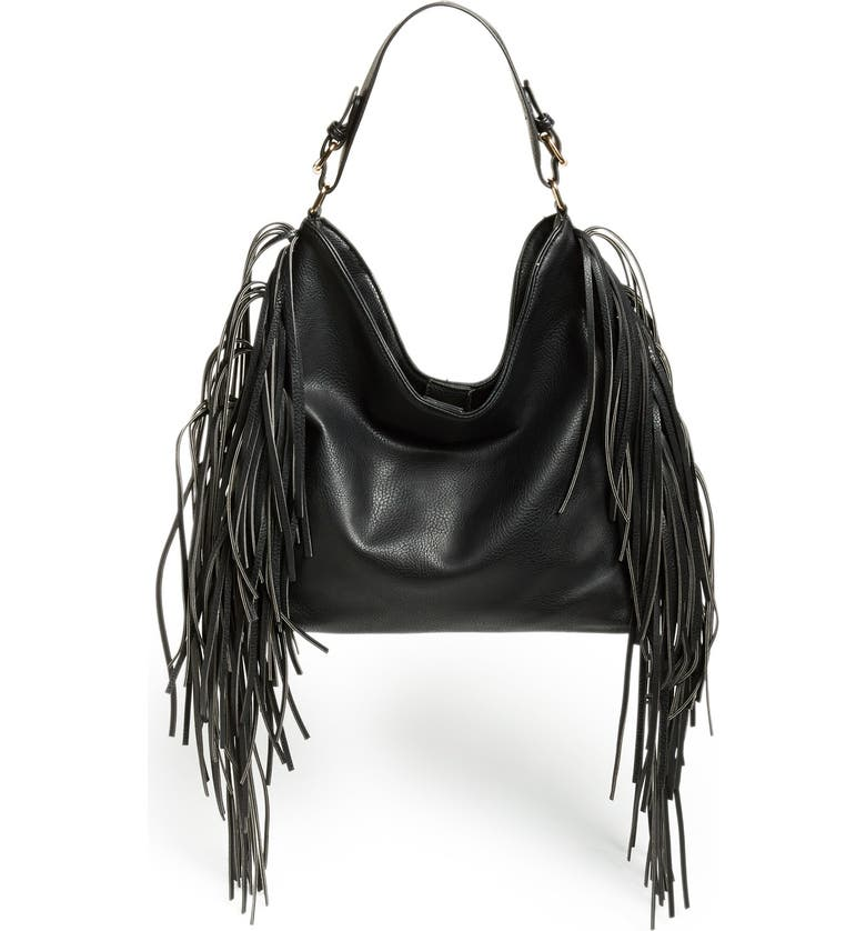 SOLE SOCIETY 'Remy' Fringe Faux Leather Hobo, Main, color, 001