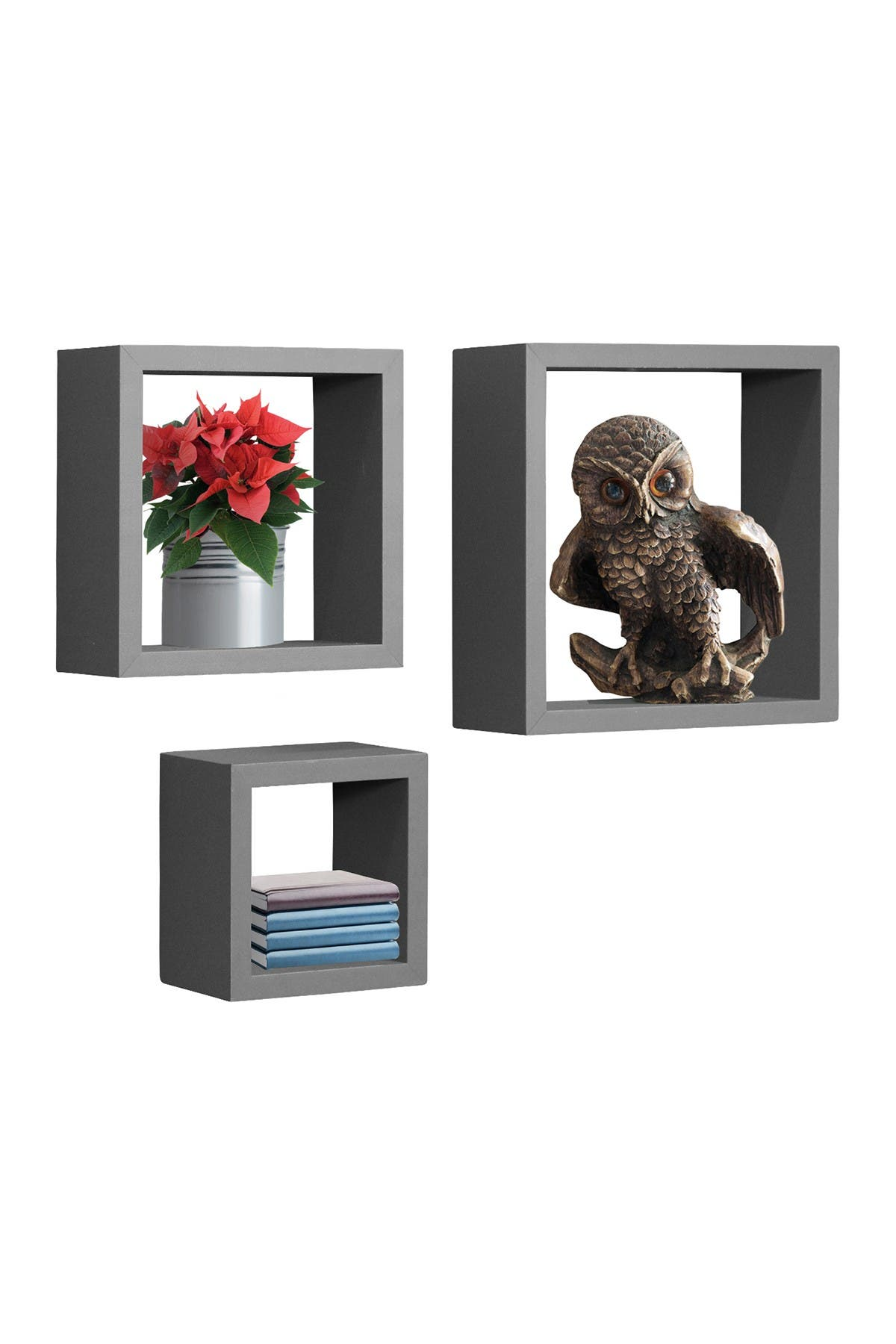Image of Sorbus Floating Square Shelves - Grey - Set of 3