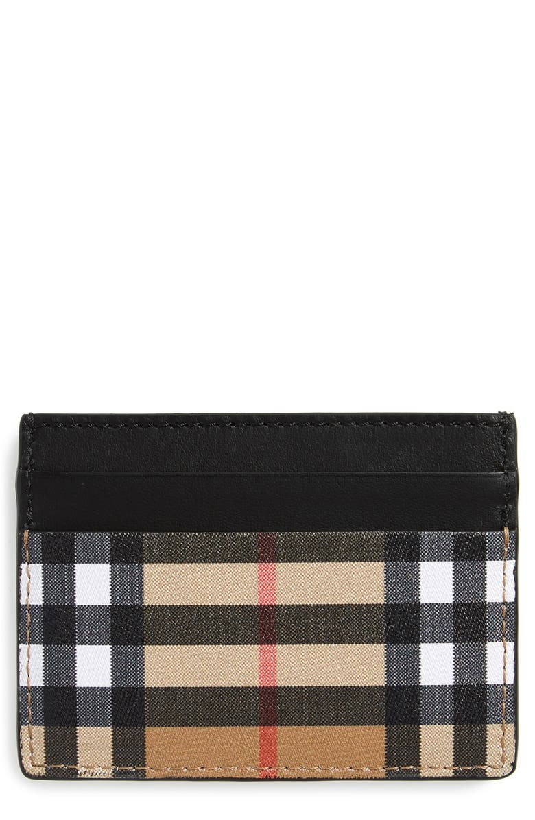 BURBERRY Grace Leather Card Case, Main, color, 001
