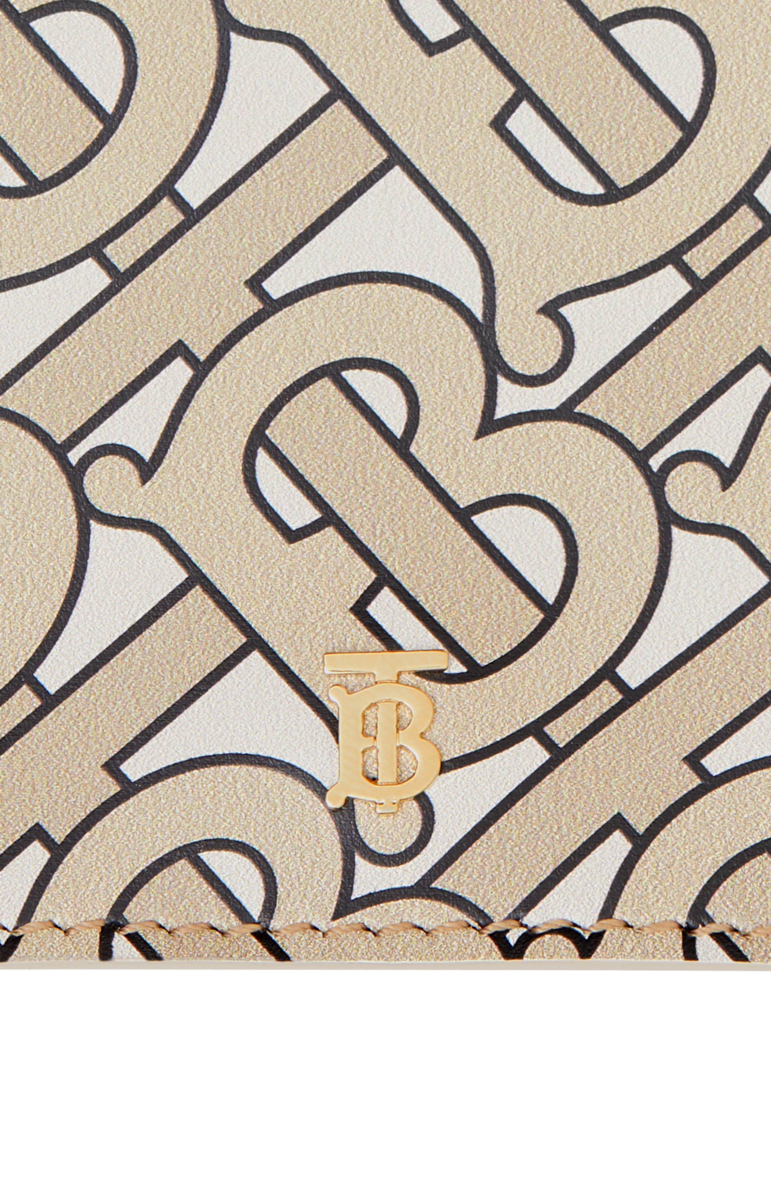 ,                             Lark Logo Print Leather Wallet,                             Alternate thumbnail 4, color,                             BEIGE