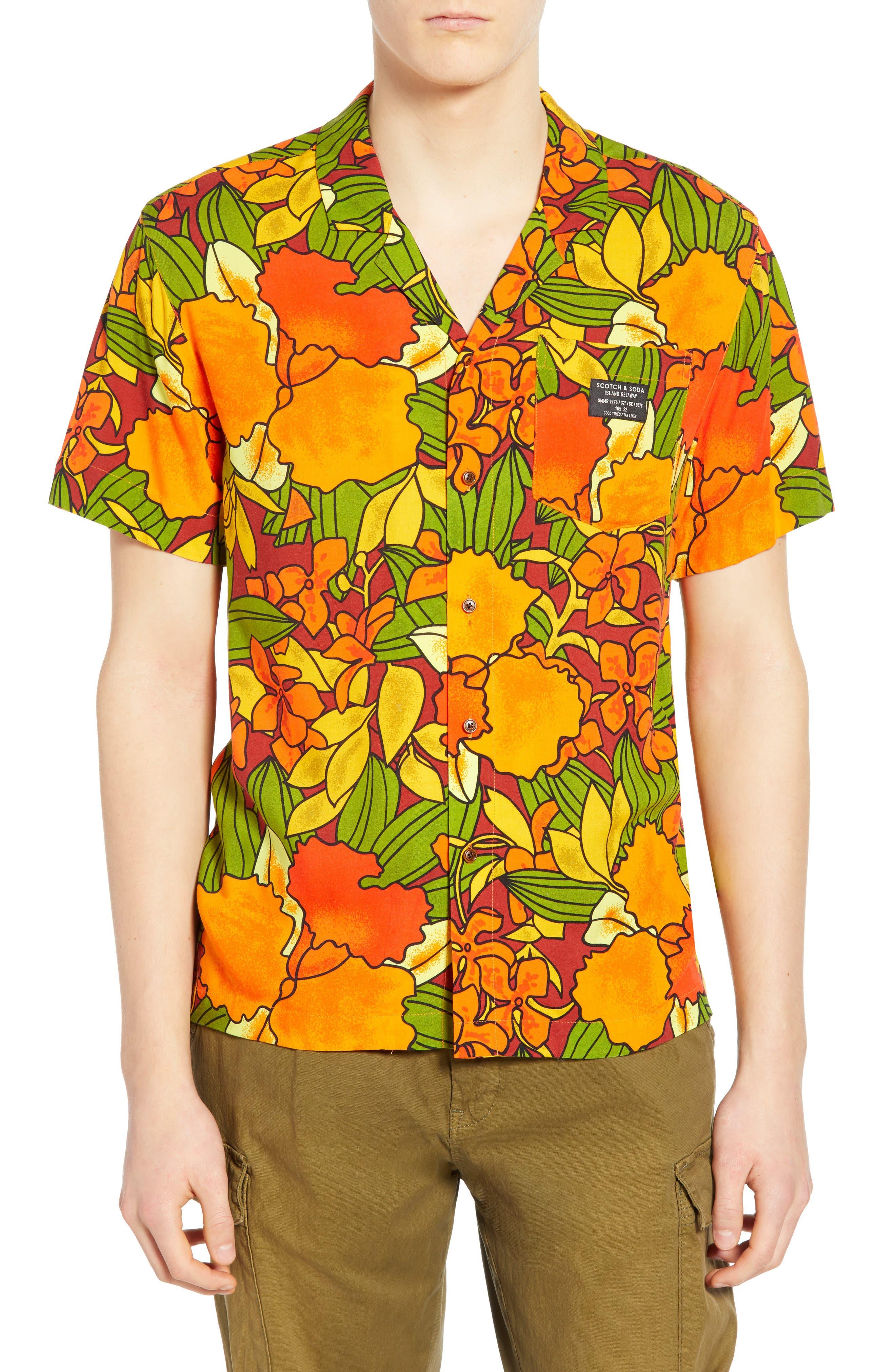 1960s – 70s Mens Shirts- Disco Shirts, Hippie Shirts Mens Scotch  Soda Hawaiian Fit Print Camp Shirt $49.05 AT vintagedancer.com