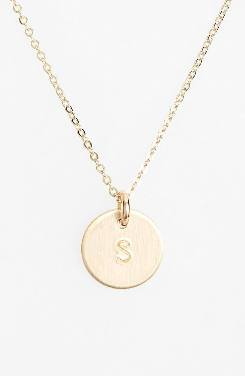 NASHELLE 14k-Gold Fill Initial Mini Circle Necklace, Main, color, 14K GOLD FILL S