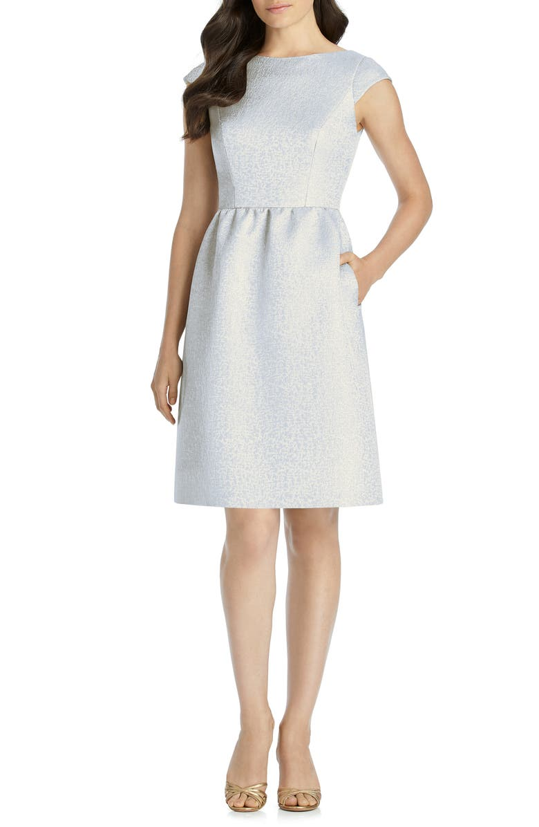 DESSY COLLECTION Bateau Neck Cocktail Dress, Main, color, CLOUDY GOLD