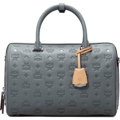 Mcm Essential Boston Monogram Leather Satchel - Grey