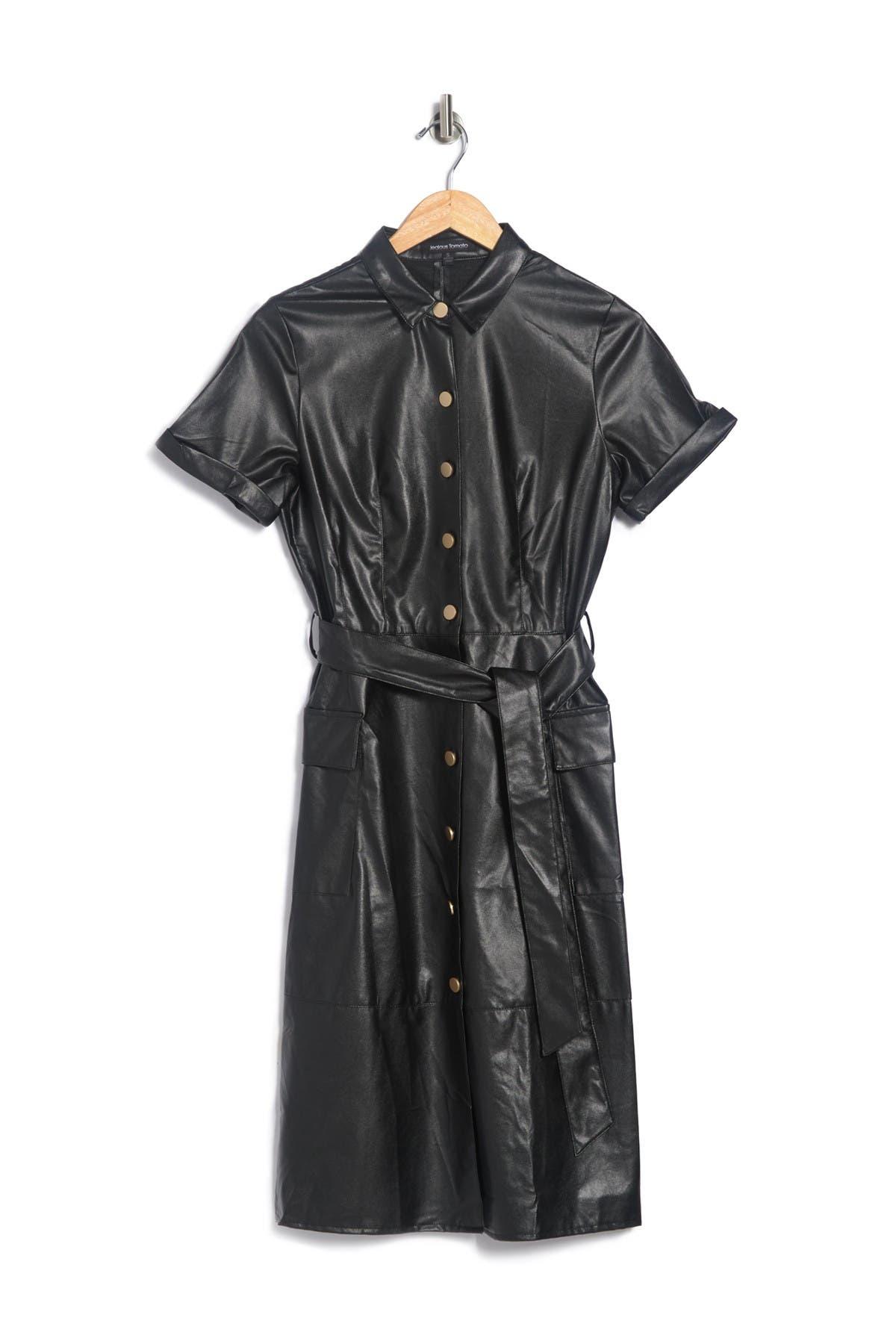 Image of Jealous Tomato Faux Leather Shirt Dress