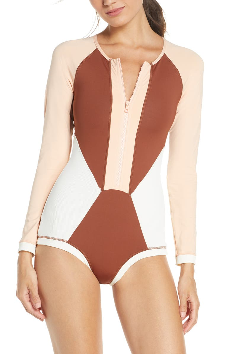 L SPACE Mod Front Zip Long Sleeve One-Piece Swimsuit, Main, color, CREAM/ DESERT ROSE/ TOBACCO