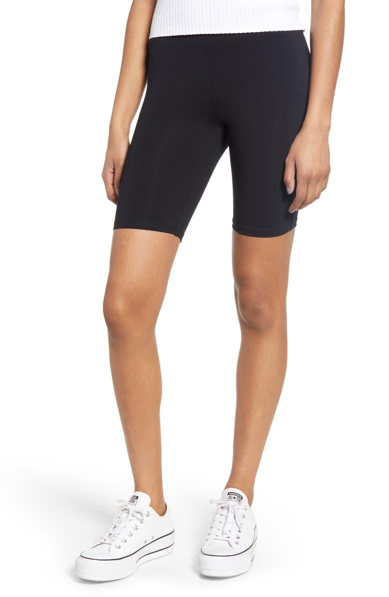 BP. High Waist Bike Shorts, Main, color, BLACK