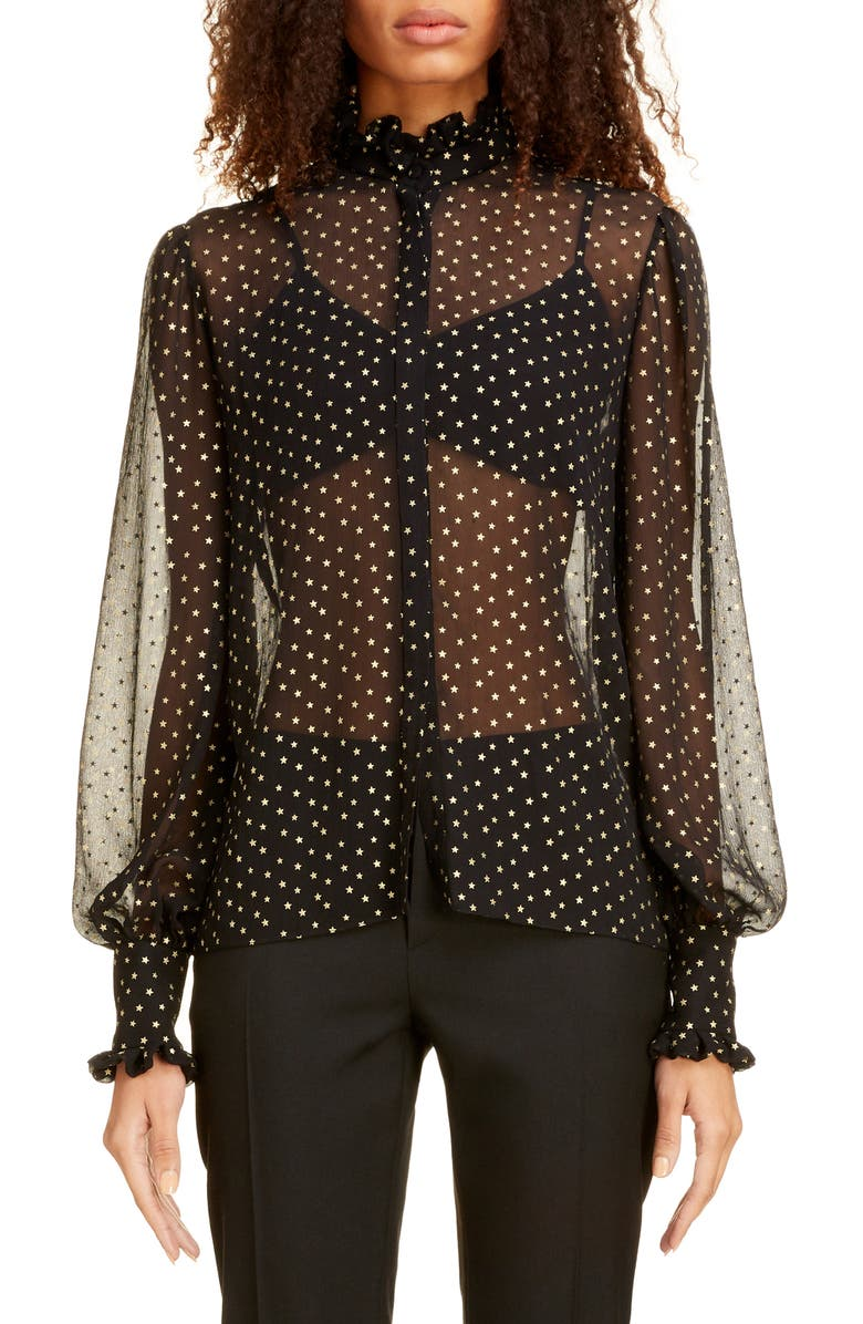 SAINT LAURENT Star Print Silk Chiffon Blouse, Main, color, NOIR OR