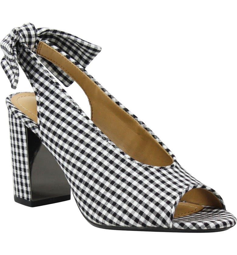 J. RENEÉ Brietta Bow Slingback Sandal, Main, color, BLACK/ WHITE CHECK FABRIC