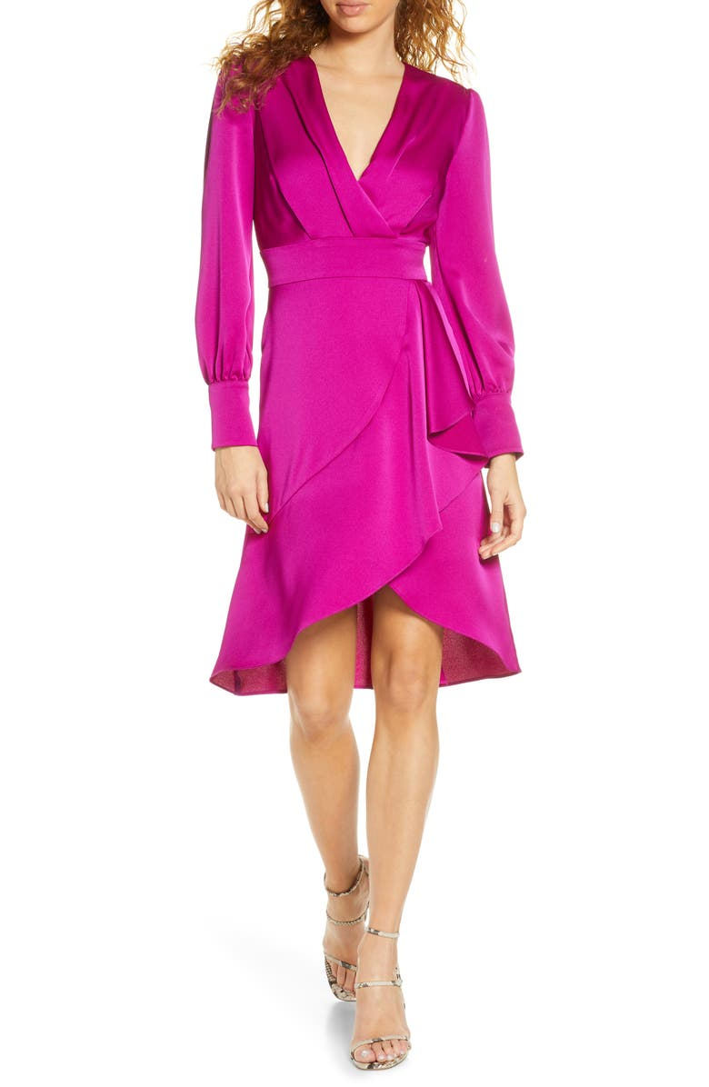 HARLYN Faux Wrap Long Sleeve Satin Dress, Main, color, ORCHID