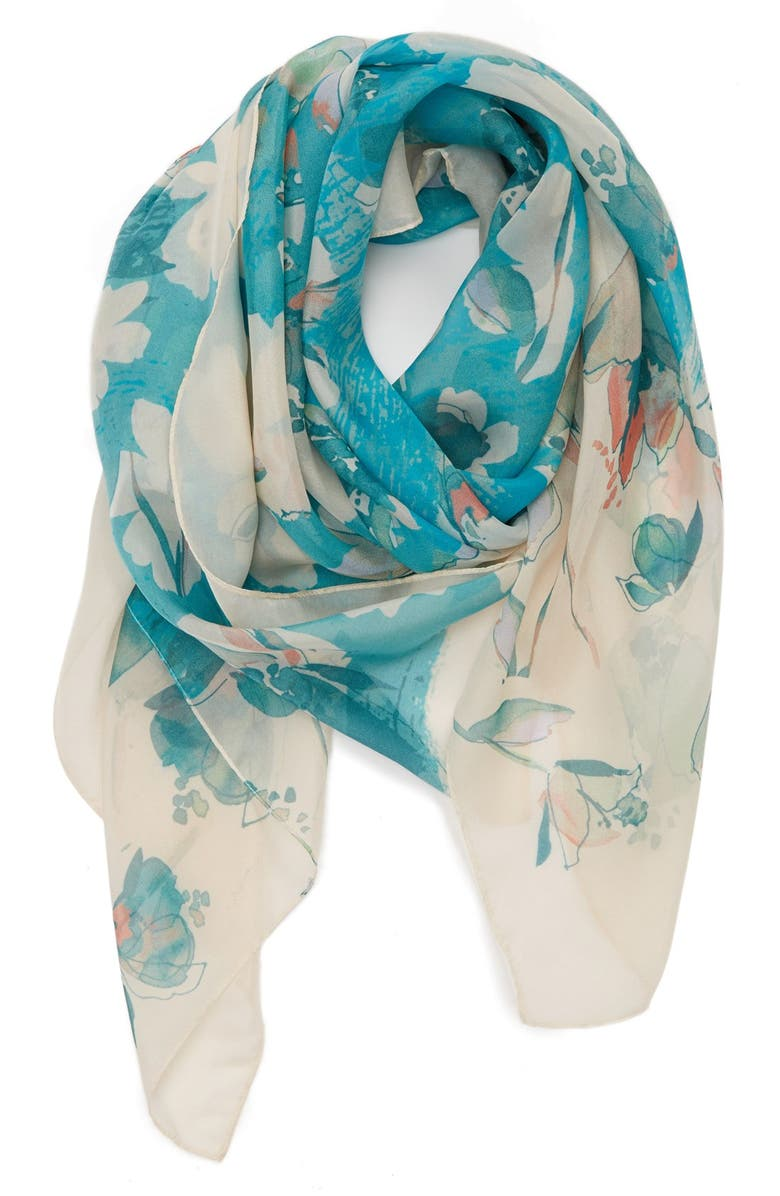 NORDSTROM 'Floral Cutout' Square Silk Scarf, Main, color, 440